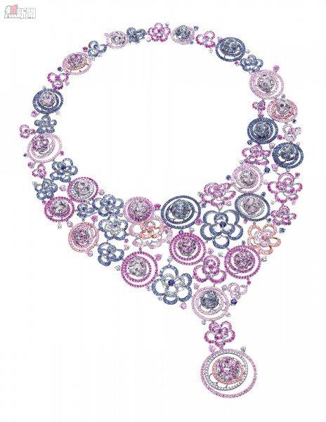 Samba Parade18K白色黃金配粉紅藍寶石、藍寶石及白鑽頸鍊