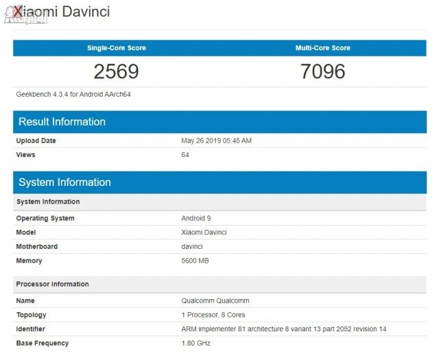 Redmi K20 on Geekbench