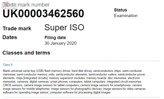 Samsung trademarks ''Super ISO'' for use with the Galaxy S20 phones