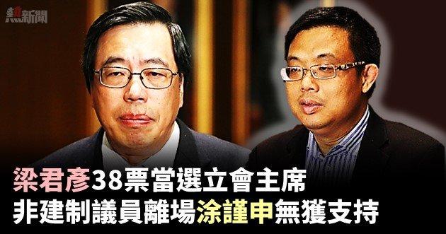 梁君彥38票當選立會主席 非建制議員離場涂謹申無獲支持